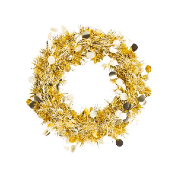 Венок мишура подвесной золотой, 30 см