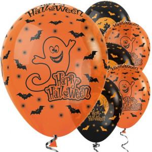 Шары 12 Happy Halloween Оранжевые и Чёрные