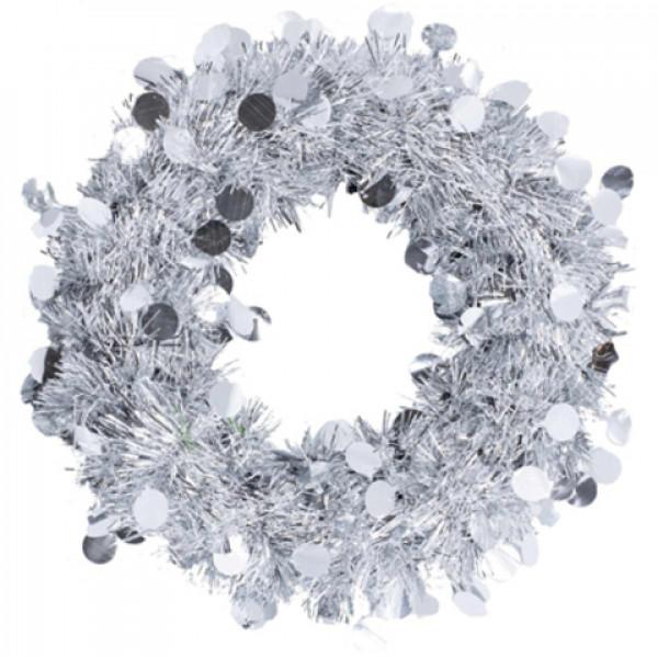 Венок мишура подвесной серебряный 30см