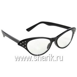 Очки Винтаж со стразами черные/А