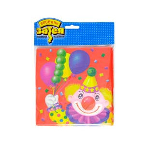 Салфетка Клоун с шарами 33см 12шт