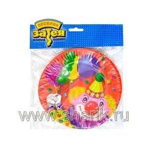 Тарелка бум Клоун с шарами 17см 6шт/G