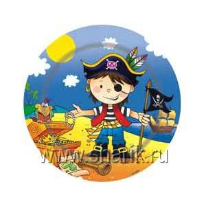 Тарелка бум Маленький пират 17см 6шт/G